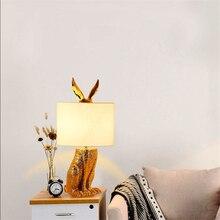 Nordic Loft Masked Rabbit Resin Table Light Modern Led Desk Bedroom Bedside Study Restaurant Decorative Lamp