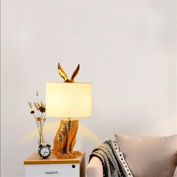 Nordic Loft Masked Rabbit Resin Table Light Modern Led Desk Light Bedroom Bedside Study Restaurant Decorative Table Lamp