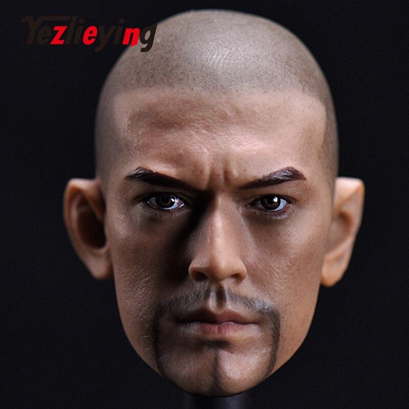1/6 échelle chiffres accessoires tête sculpture étoile asiatique Jinchengwu chauve barbe Version pour 12 ''jouets chauds mâle soldat figurine d'action