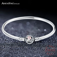ANFASNI Real 100% 925 Sterling Silver Poetic Daisy Cherry Blossom Mixed Enamels & Clear CZ Snake Chain Bracelet Jewelry Gift