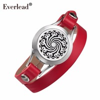 EVERLEAD rosso braccialetto di cuoio aromaterapia salute locket DELL'ACCIAIO INOSSIDABILE 316L piuttosto signore della fascia regalo braccialetti per le donne