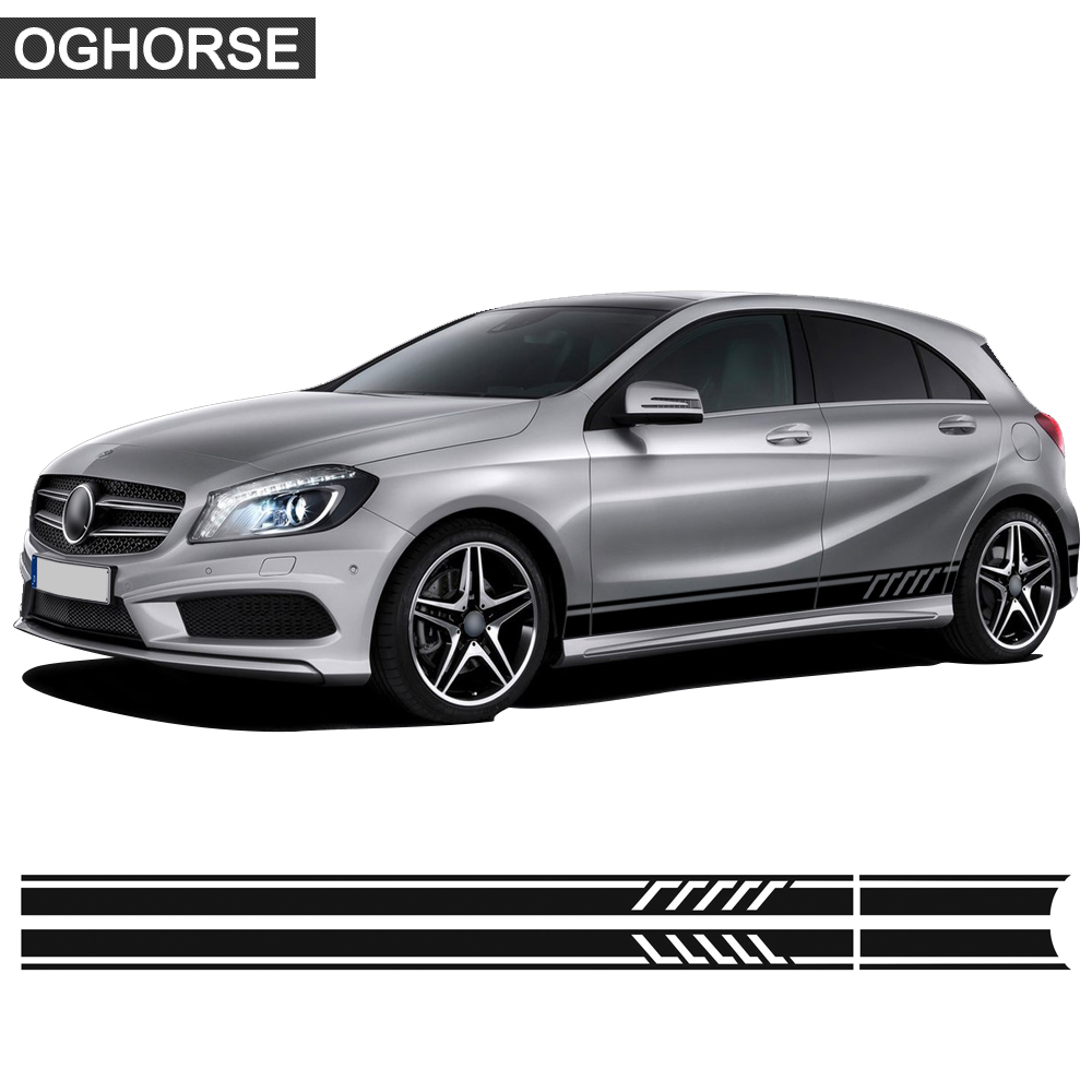 Edición 1 Estilo puerta lado falda de rayas etiqueta engomada etiqueta para Mercedes Benz clase W176 A45 AMG A180 A200 x117 Accesorios