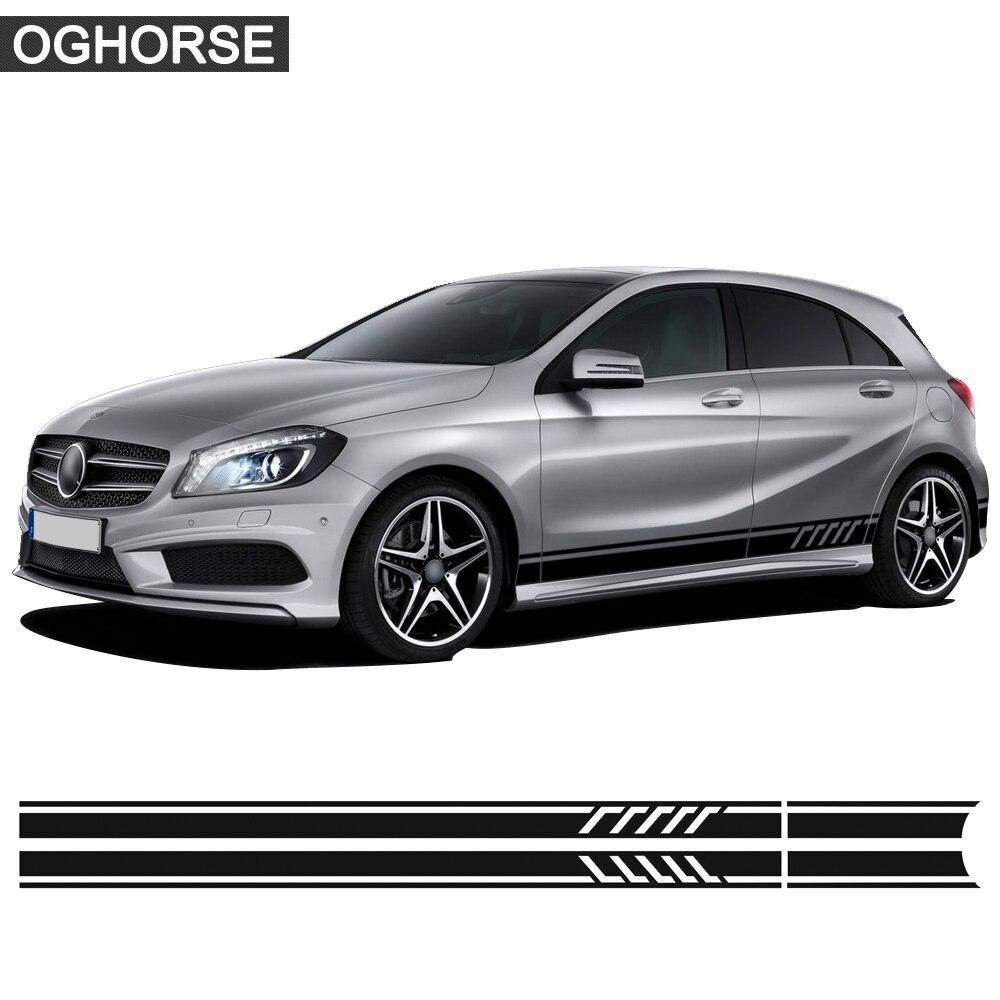 Видання 1 Наклейка на наклейку на бік смуги для дверей Mercedes Benz A Class W176 W177 A45 A180 A200 A220 A250 X117 AMG Аксесуари