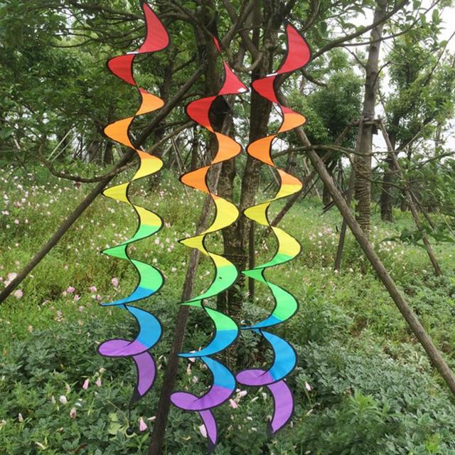 1Pcs Foldable Rainbow Wind Spinner Spiral Curly Tail Windmill Tent Garden Decoration Outdoor Camping Accessories
