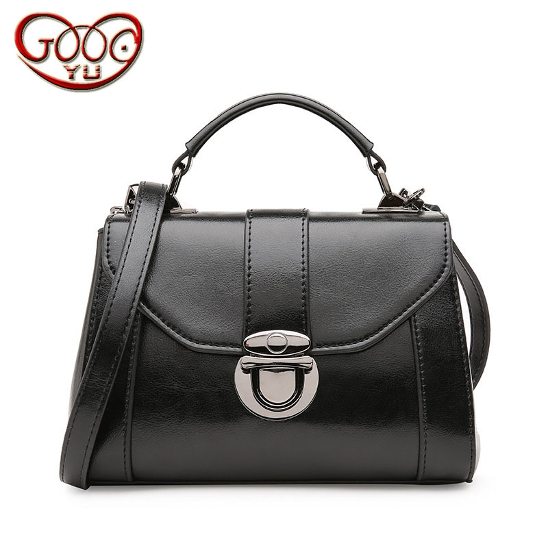 Explosion leather lock handbag ladies new leather Korean cross section small square package