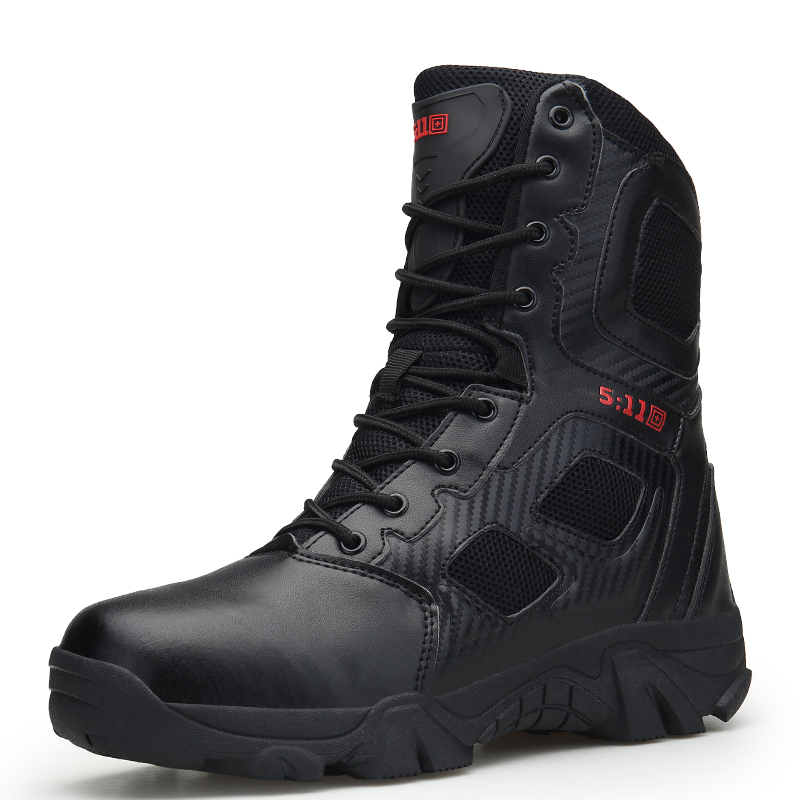 Men s 9   inch Military Tactical Boots PU Police Duty Boots with Side  Zipper Hiking Non slip Rubber Sole-in Work   Safety Boots from Shoes on  Aliexpress.com ... ed18bea67a2d