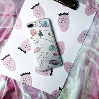 Planet Star Laser Glitter Case Cover For Apple IPhone 7 7plus Space Saturn Moon Phone Case