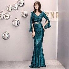 Sexy Green Sequin V-neck Long Sleeve Slim Mermaid Dress Elegant Gothic Evening Party bodycon Dresses Women Vestidos 2019