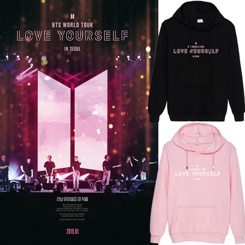 2019 K-pop Hip Hop BTS LOVE YOURSELF IN SEOUL Fashion men hoodies sweatshirt Korea Idol Casual top street wear