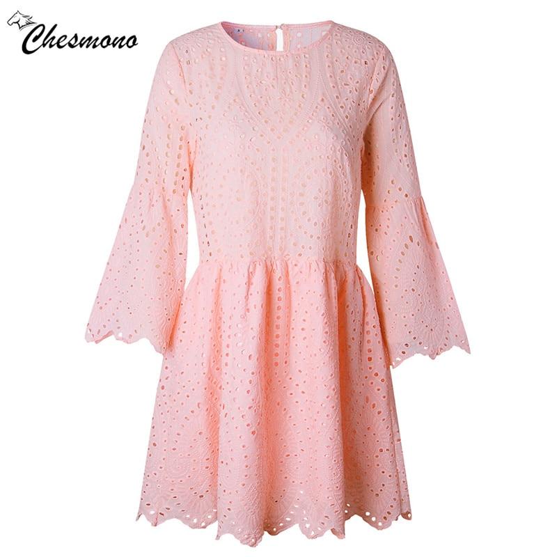 Lace embroidery cotton mini dress women Ruffle hem butterfly 3/4 sleeve causal dress Hollow out summer short dress vestidos