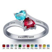 Personalized Name Ring Double Heart Birthstone 925 Sterling Silver Engrave Jewelry Mother Daughter Rings (RI101789)