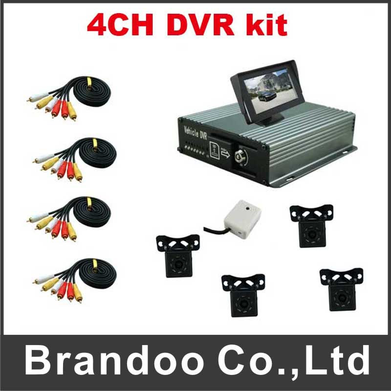 4CH realtime motion detection H.264 MDVR IR night vision camera DVR kit for car,bus,truck,taxi use