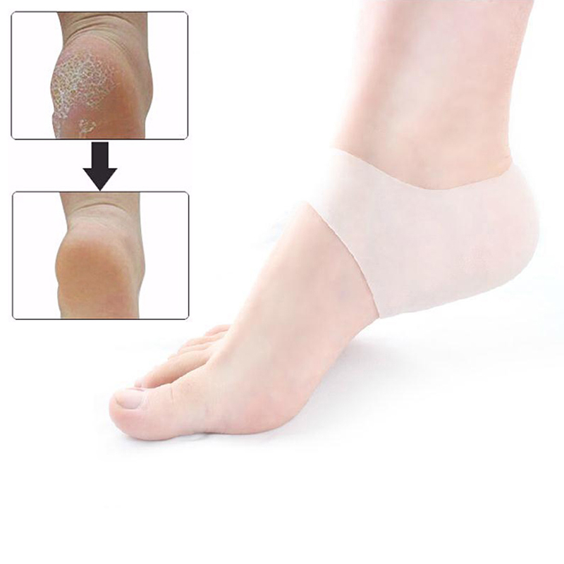 1 Pair Plantar Fasciitis Shock Absorbing Silicone Gel Sleeve Breathable Protective Heel Cracked Foot Skin Care Pain Relief P0070