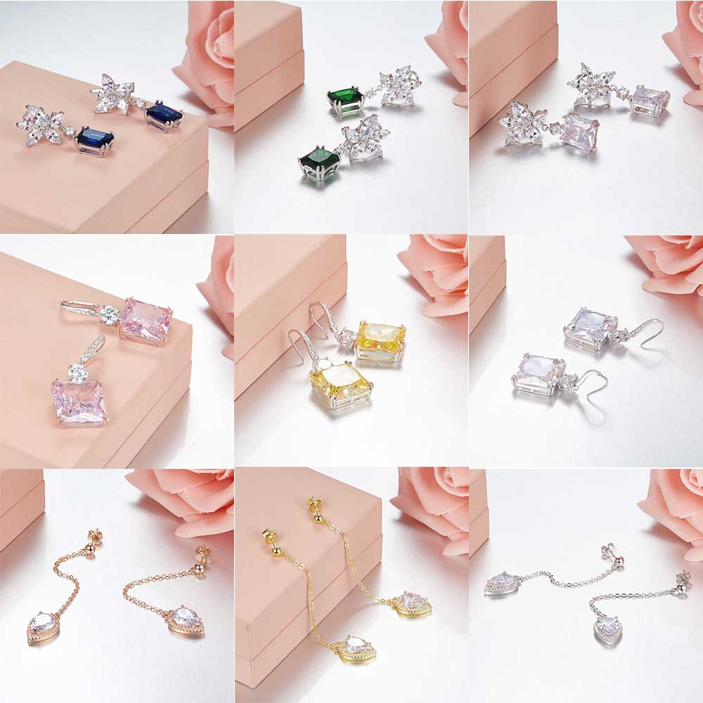 TIFF 100% 925 Sterling Silver Glamorous luxury gems Stud Earrings - DIY Charms Earrings Gift for girls Factory wholesale
