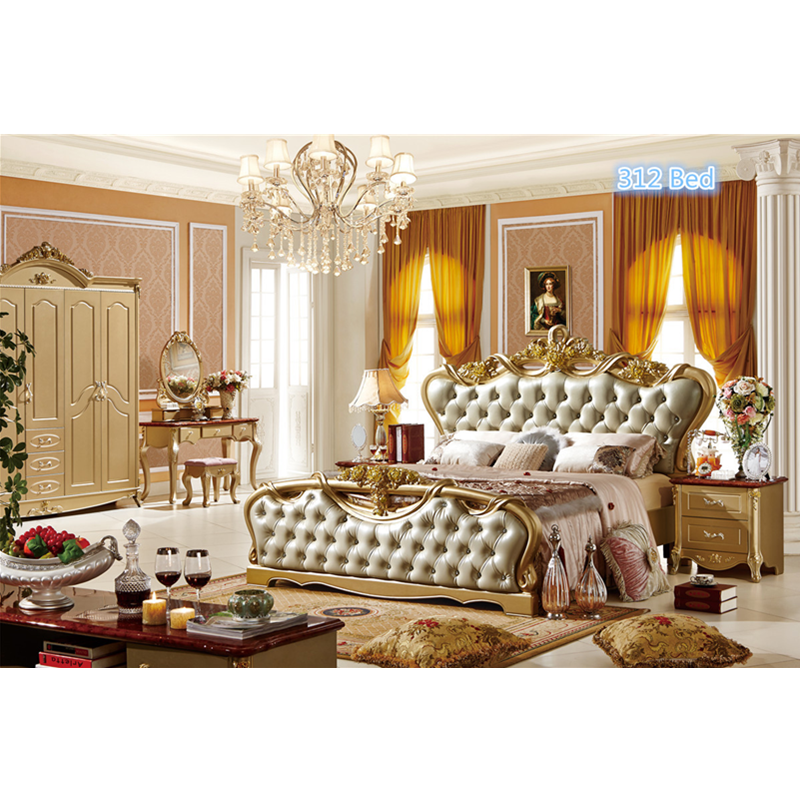 US $1098.0 |Antique hand carved bed luxury top quality European style  bedroom furniture classical leather bed-in Bedroom Sets from Furniture on  ...