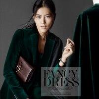 European And American Big Dark Green Velvet Cotton Fashion Lights Rui Velvet Fabric Cotton Cloth Wholesale