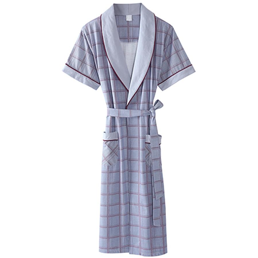 Bath Kimono Robe Men Nightgown Bathrobe Mens Sleepwear Cotto Peignoire Nightwear Home Wear Man Plaid Roupao De Banho Robe S502