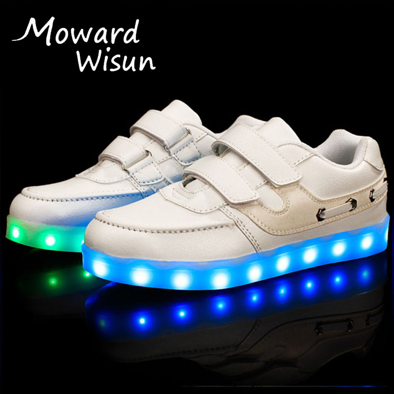 Fashion USB Luminous Glowing Sneakers Children LED Shoes with Light Up Sole Kids Casual Shoes Boy Girl Baskets LED Slippers 15