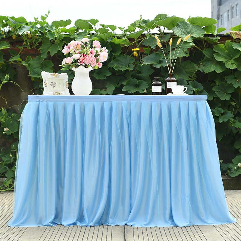 งานแต่งงานกระโปรงตารางผ้าปูโต๊ะสำหรับทารกฝักบัววันเกิดเหตุการณ์ตกแต่งตารางตารางครอบคลุมผ้าไหมผ้า tutu sashes