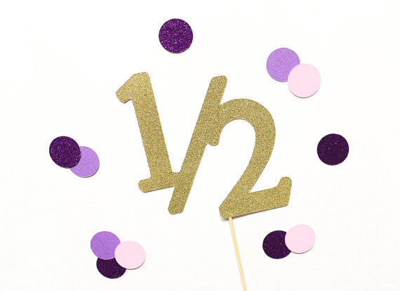 Detail Feedback Questions About 12 Piece Half Birthday Glitter Cake Topper 1 2 6 Month On