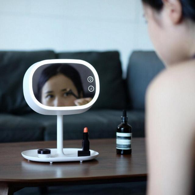 1 unid espejo de maquillaje lámpara Ajustable Pantalla Táctil Lámpara de Mesa Tocador Espejo de Maquillaje Espejo Portátil Luminosa 180 Giratoria 7E17D5