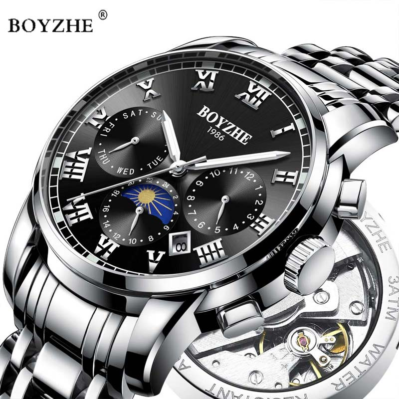 Boyzhe Luxus Marke Automatische Mechanische Männer Uhr Mode Edelstahl Business Wasserdichte Sport Uhr Relogio Masculino