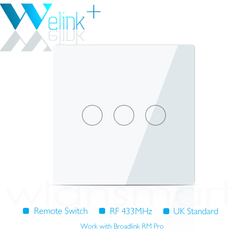UK Standard WeLink Remote Control Switches 3 Gang 1 Way,Wireless remote control