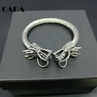 CARA New Men Punk Opening Twisted BRACELET Double Dragon Head Wrist Dragons Vintage Silver Color Norse