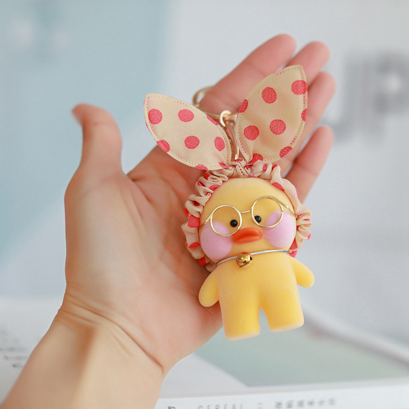8cm Lalafanfan Cute Keychain Pendant Toy Kawaii Cafe Mini Yellow Duck  Action Figure Keyring Bags Decoration Toys For Children
