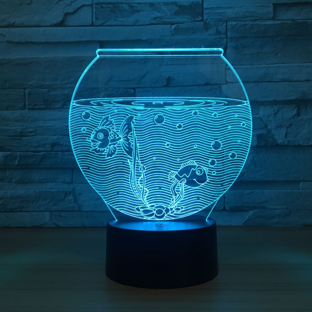 Fish Tank Shape Acrylic 3D Night Light LED Illusion USB RGB Night Light Desk Lamp Home Decor Holiday Gift Atmosphere Decor Lamp 2016 fashion graffiti printed high quality pu leather handbag platinum package buckle handbag with multicolored print large bag