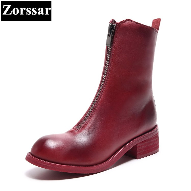 {Zorssar} 2018 NEW fashion women boots Genuine leather comfort Thick heel zipper Mid-Calf boots autumn winter women shoes 2018 new arrival fashion winter shoe genuine leather pointed toe high heel handmade party runway zipper women mid calf boots l11