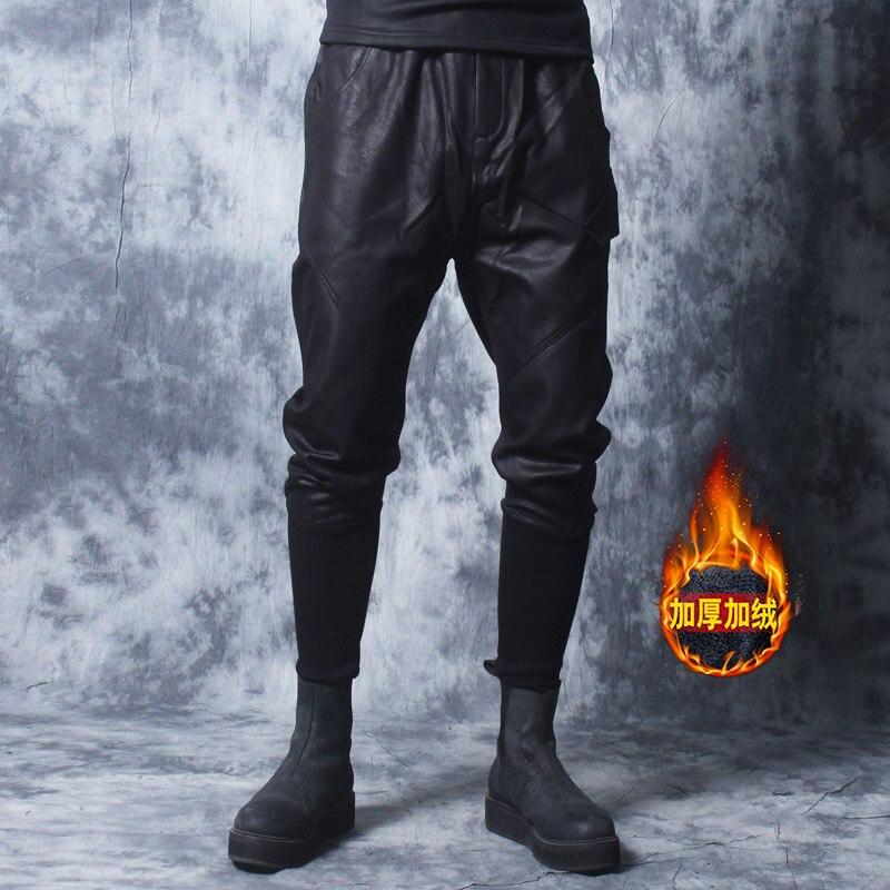 Зима 2018 новые мотоциклетные кожаные брюки мужские корейские версии tide плюс бархатные толстые ноги брюки мужские плотные брюки с заячьими у...