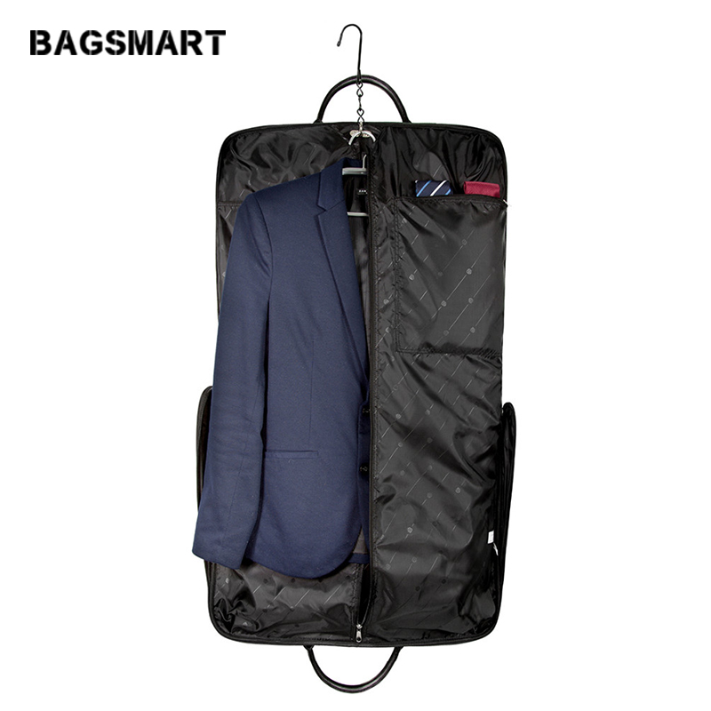 BAGSMART Waterproof Black Zipper Garment Bag Dengan Handle Clamp Dress Suit Bag Lelaki Perniagaan Garment Bag Travel Bag For Suit