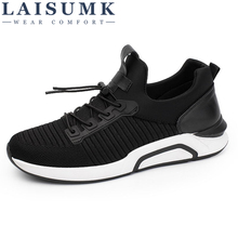 2019 LAISUMK Spring Men Trainers Sneakers Casual Shoes Breathable Leather Fashion Flats Male Leisure