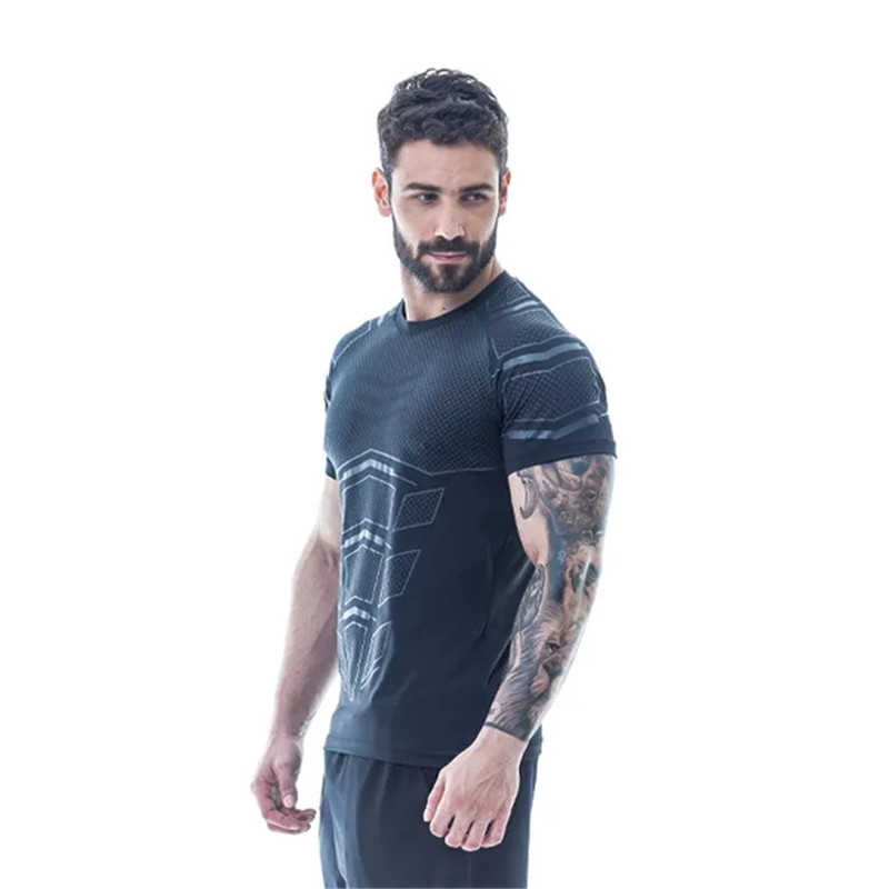 2019 新しい男性ジムフィットネス圧縮 tシャツスキニー弾性ボディービルワークアウトシャツ男性黒 tシャツブランド服