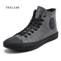 Classic High Tops sneakers men shoes PU leather fashion male ankle boots gray black flats solid color shoes Mans footwear