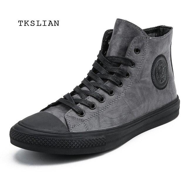 Classic High Tops sneakers mannen schoenen PU leer mode mannelijke enkellaarsjes grijs zwart flats effen kleur schoenen Mans schoeisel