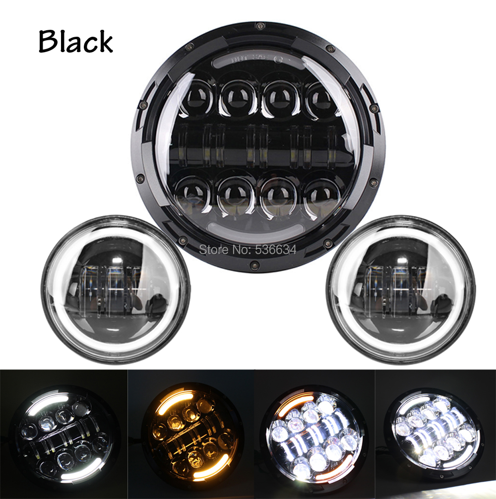 7Inch LED Projector Daymaker Headlight with Matching 4.5Inch LED Passing Lamps Fog Light For Harley Davidson Softail Deluxe