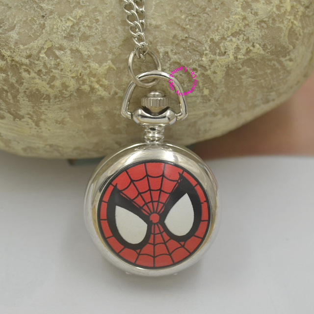 810488532 wholesale marvel Super Heros Spiderman enamel Pocket Watch Child Boy cute  fob Watches Fashion cute red silver antibrittle chain