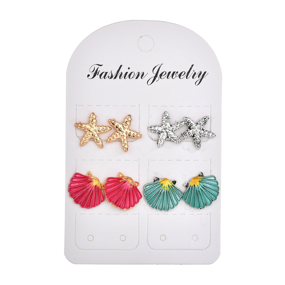 Misscycy Earrings-Set Starfish Jewelry-Accessories Shell Beach Vintage Alloy Mix-Color