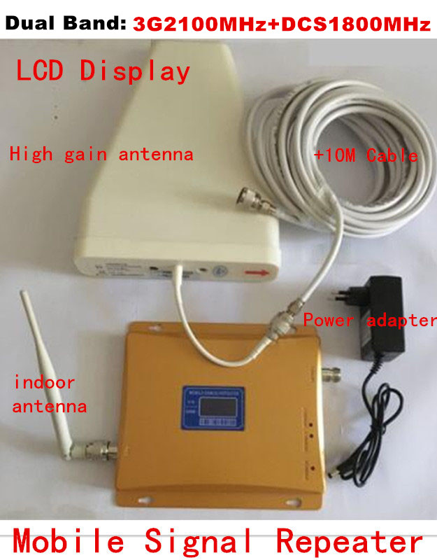 LCD !Dual Band 3G 2100MHZ & DCS 1800mhz Signal Booster 3G Repeater DCS Amplifier +indoor Outdoor Antenna +10M Cable Full Set