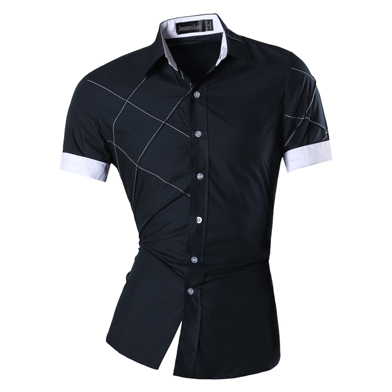 Image 3 - Mens 2019 Summer Fashion Lines of Geometric Ornamentation Casual Slim Fit Short Sleeve Male Mixed colors Shirt Z003-in Casual Shirts from Men's Clothing