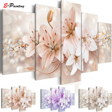 Modern Painting Canvas Wall Art Living Room Modular Pictures 5 Panels Lily Flower Print Home Decoration
