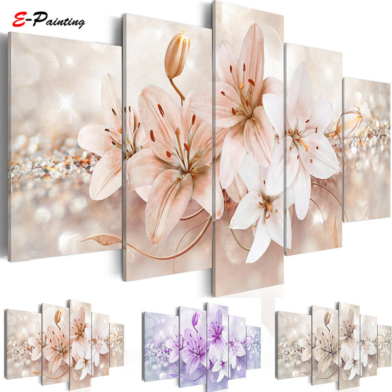 Modern Painting Canvas Wall Art Living Room Modular Pictures 5 Panels Lily Flower Print Home Decoration image