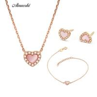 AINUOSHI Heart shaped Earrings Pendant Necklace Gem Sets 18K Rose Gold Fashion Female Jewelry Sets Mini Heart shaped Gemstone