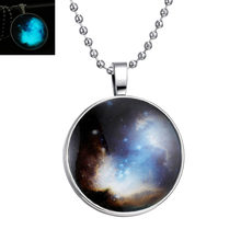 910 Mysterious Full Of The Imagination Universe Starry Sky Glow In The Dark Necklace Women Luminous Pendant Necklace N4147(China)