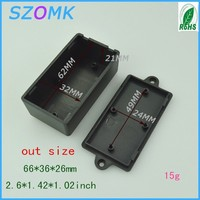 10 pcs/lot plastic project housing case in Black color could be walled up pcb 66*36*26 mm design instrument enclosures