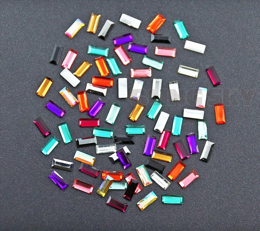 800 TEILE / LOS Mix Farben 7x3mm Rechteck Harz Strass Nagel Kristall - Kunst, Handwerk und Nähen - Foto 4