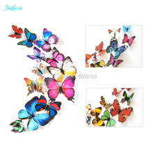Simulation adhesive 12pcs 3D Butterfly stickers Magnetic For Scrapbooking/refrigerator Home wall background Christmas Decoration
