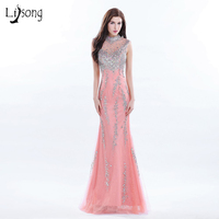 Hot Coral Long Evening Dress Beaded High Neck Formal Gowns Long Sequin Dress Real Photo Women Gown Elegant Lady Evening Dresses